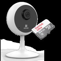 Комплект 1mp Wi-fi камера с микрофоном + MicroSD 64Gb